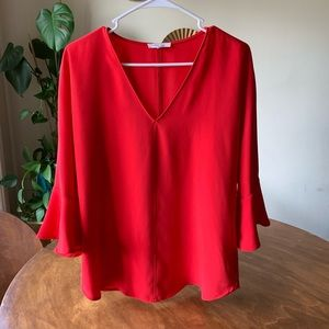Red bell sleeve top // Perfect for the holidays!